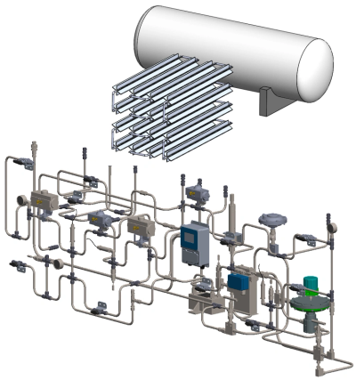 3D model of process gas or liquid system