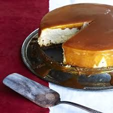 Eggnog Cheesecake with Salted Caramel Sauce
