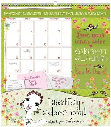 Pocket Calendar.Love Your Inner Voice 2018 Wall Pocket Calendar