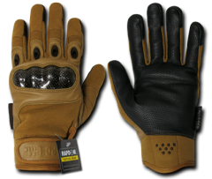Carbon Fiber Knuckle Tactical Glove, Coyote, Small