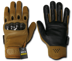 Carbon Fiber Knuckle Tactical Glove, Coyote, Large