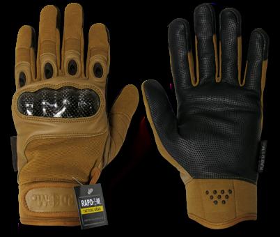 Carbon Fiber Knuckle Tactical Glove, Coyote, Large