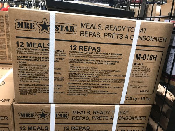 Case of 12 MRE's (Meals Ready to Eat)