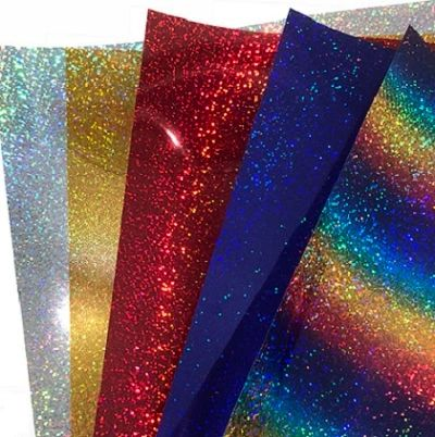 "Siser Holographic Iron On Heat Transfer 3 Sheets 10"" x 12"" Sheet Each, Choose from Silver, Gold, Red, Royal Blue, Rainbow"