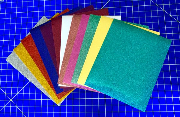 "Siser Glitter Iron On Vinyl, Heat Transfer, 3 12"" x 10"" Sheets, Choose 3 Colors"