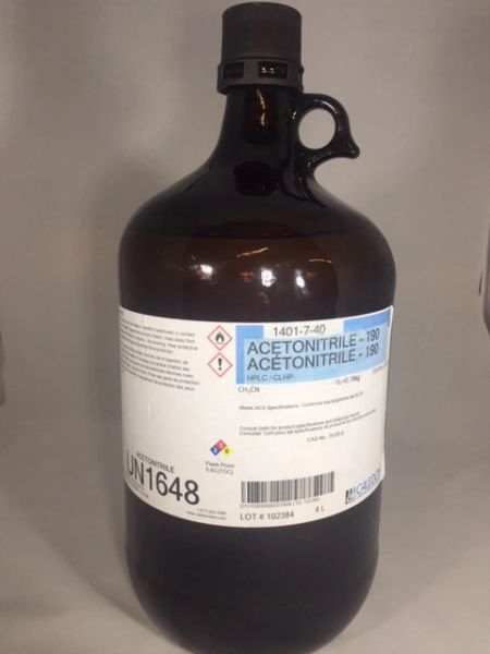 Acetonitrile HPLC Grade 4x4L Part Number 1401-7-40