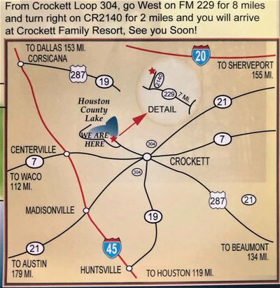 Crockett area map with directions to Houston County Lake; Crockett Family Resort & East Texas Cottages