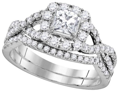 1.00 ctw Princess cut Halo Bridal set