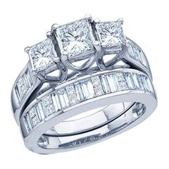 14kt W/G 1.00ctw 3 Princess cut Bridal