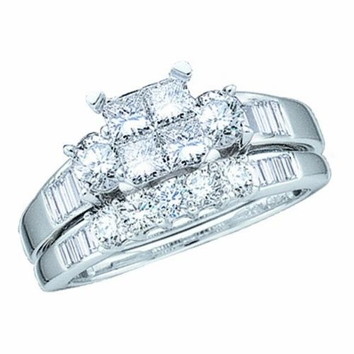 QUAD SETTING 1.00CTW PRINCESS CUT BRIDAL SET