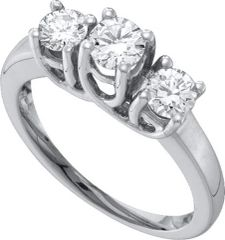 1.00CTW DIAMOND LADIES RING WITH 3STONE ROUND CENTER