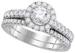 1 CTW DIAMOND, ROUND HALO BRIDAL SET