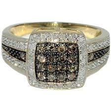 Luxurious Cognac & White Diamond Ring