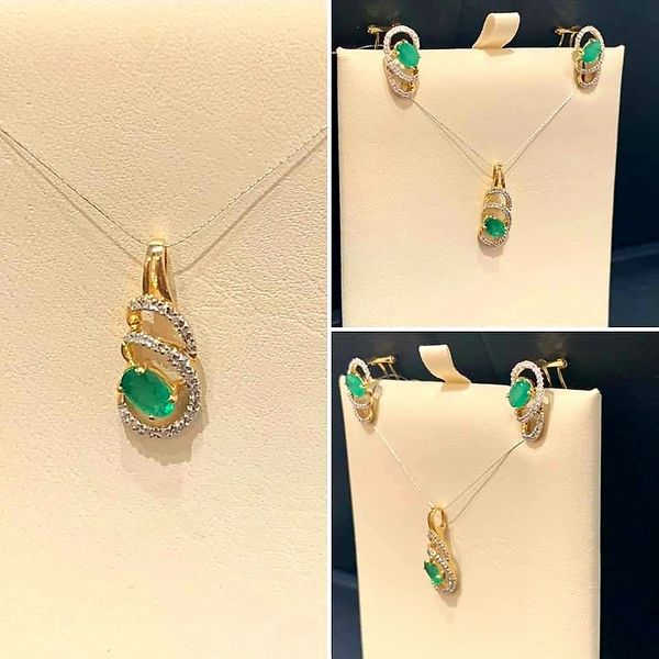 14 KT Y/G GENUINE EMERALD & DIAMOND NECKLACE & MATCHING EARRINGS