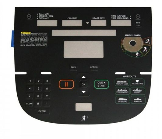 Precor AMT12 733/833 P30 Fits # 302784-150 - Console Housing Overlay Keypad - NEW - R# KAM325192SM
