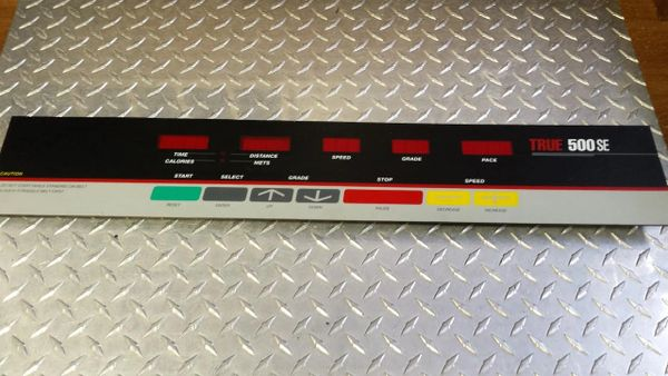 True 500SE Treadmill Console Overlay/Upper Board Used Ref. # JG3073