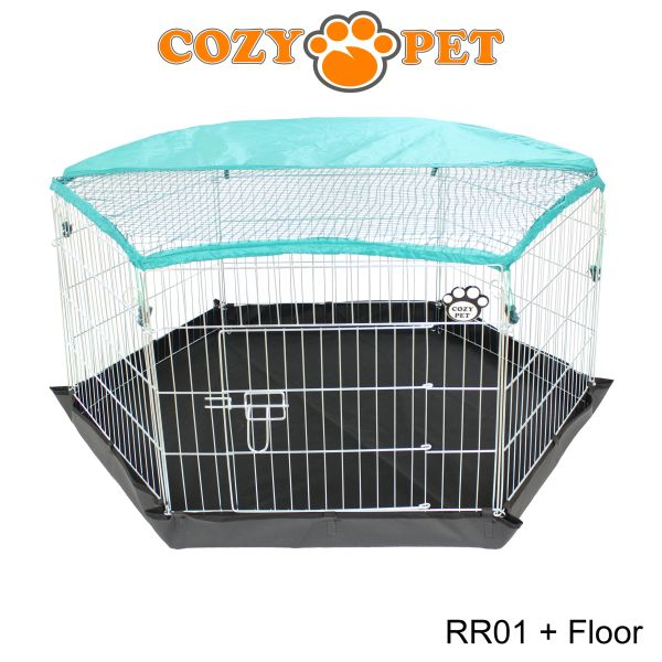 Cozy Pet Rabbit Run 6 Panel Playpen With Sunshade And Floor