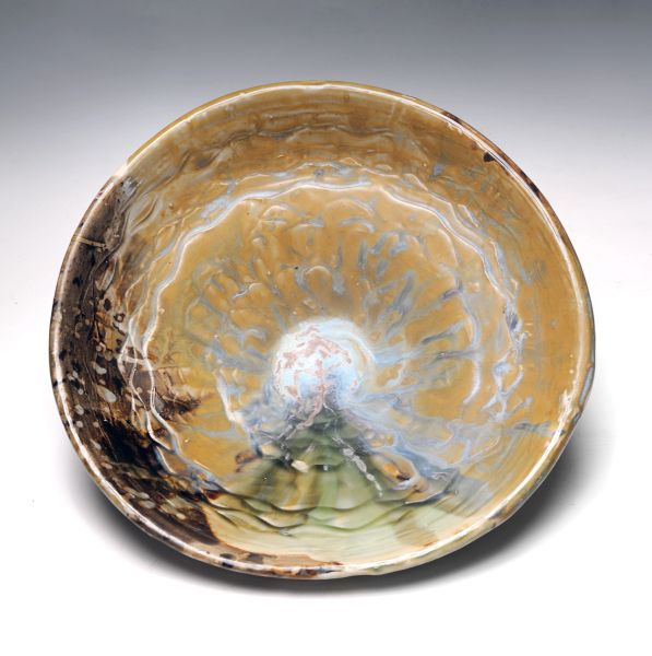 Wide Bowl, Wavy mostly green and Brown/Photo by Greg Staley