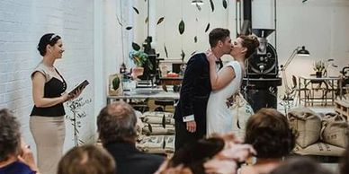 Wedding Celebrant Yvette conducts ceremony in alternative space in Parnell