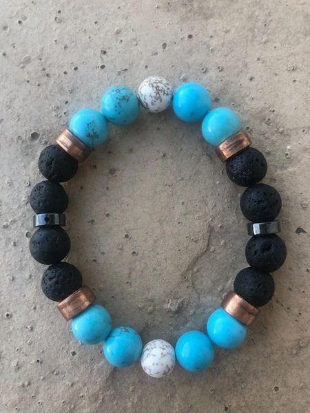 Men's Beads Black Lava, Turquoise, White Buffalo & Copper