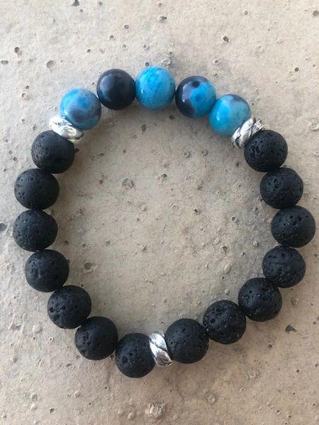 Men's Beads Black Lava & Aqua Agate