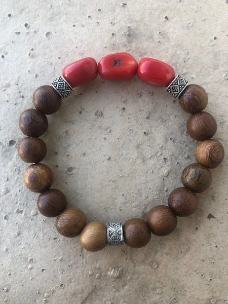 Women's Beads Brown Wood & Red Coral nugget