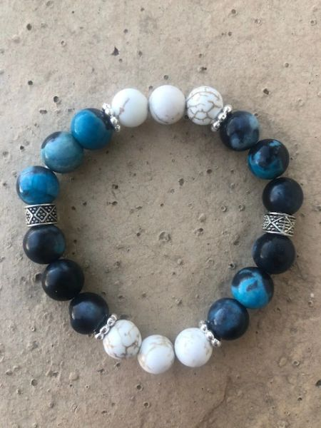 Women's Beads Aqua Agate & White Buffalo