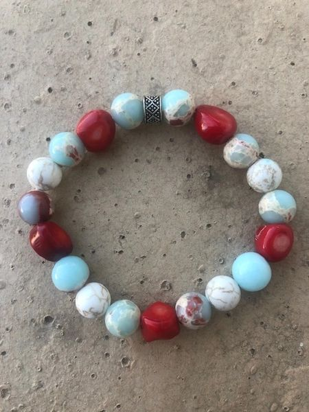 Women's Beads Red Coral, Blue/Red Glass & White Buffalo