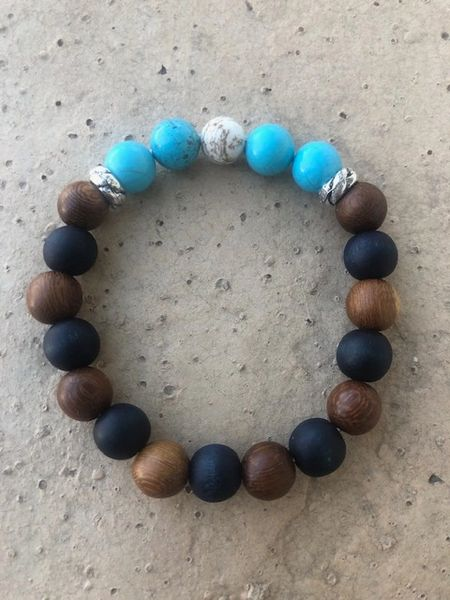 Men's Beads Black/Brown Wood, Turquoise & White Buffalo