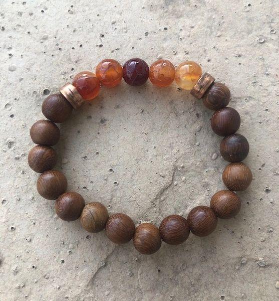 Men's Beads Brown Wood, Carnelian & Copper