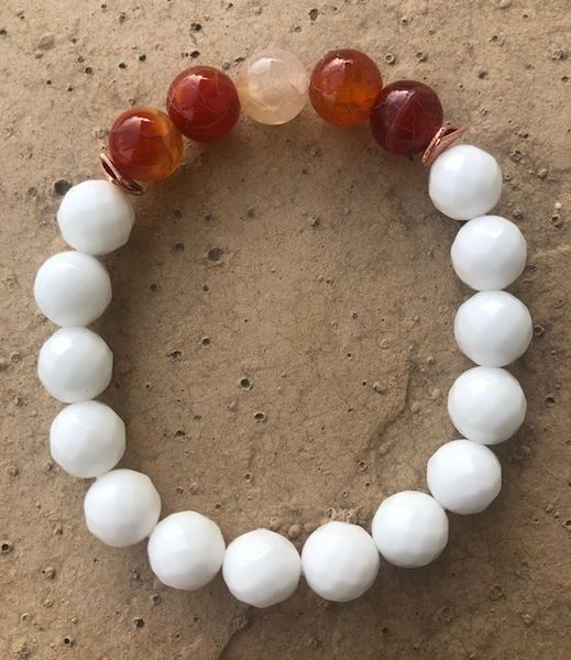 Women's Beads Carnelian & White Czech Faceted Glass