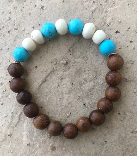 Men's Beads Brown Wood, Turquoise & White Bone