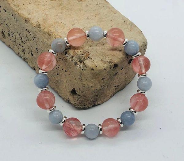 Women's Beads Cherry Quartz & Aquamarine
