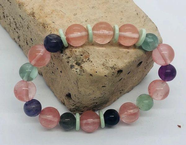 Women's Beads Cherry Quartz & Fluorite