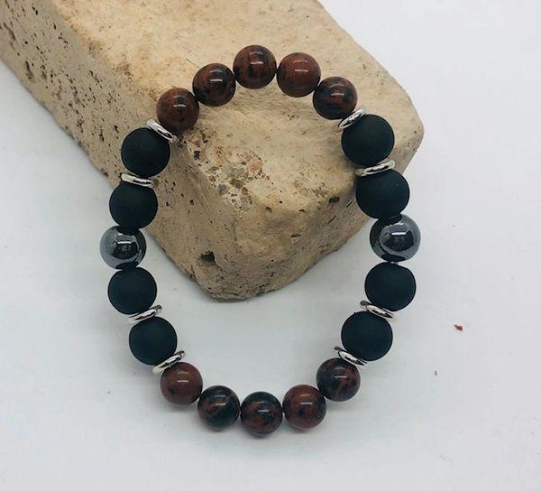 Men's Beads Mahogany Obsidian, Matte Glass & Hematite