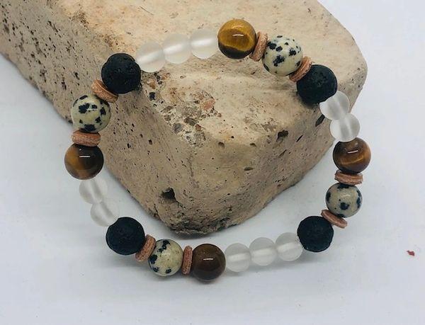Women's Beads Dalmatian Obsidian, Tiger Eye, Lava & Glass