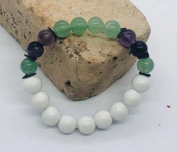 Women's Beads Amazonite, Fluorite & White Glass