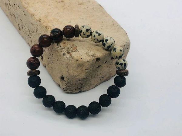 Women's Beads Mahogany / Dalmatian Obsidian & Lava