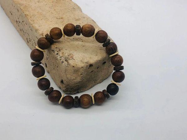 Men's Beads Coconut & Brown Wood