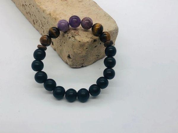 Men's Beads Cape Amethyst, Tiger Eye, Coconut & Black Wood