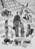 Patriotic drawing, American Flag, western artwork, buffalo soldier, cowboy, eagles, Prayer American Indian art