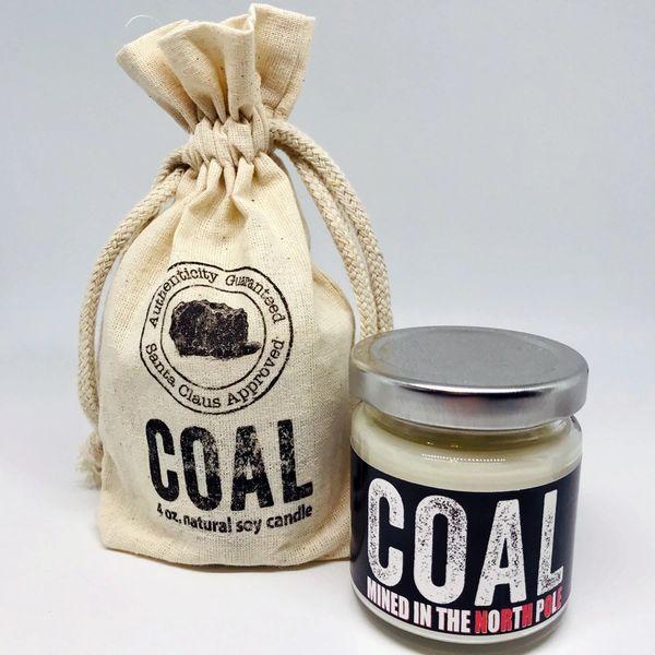 Coal soy candle | 4 oz. glass jar w/custom printed bag