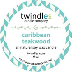 caribbean teakwood soy candle | 6oz. travel tin | 25+ hr burn time