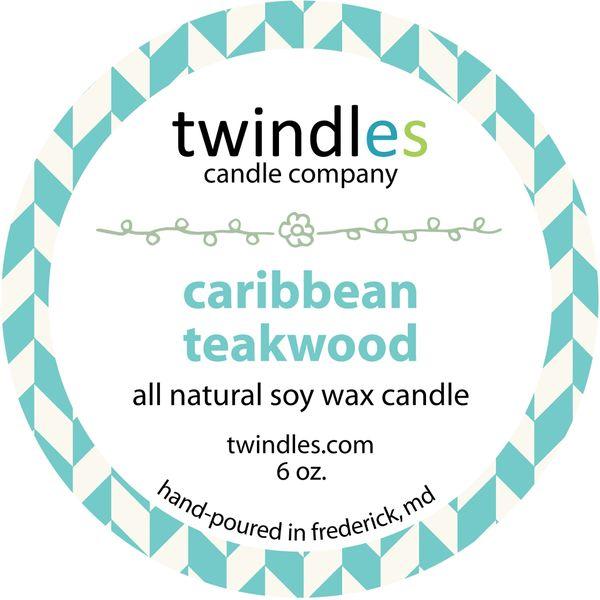 caribbean teakwood soy candle | 6oz. travel tin | 25+ hr burn time