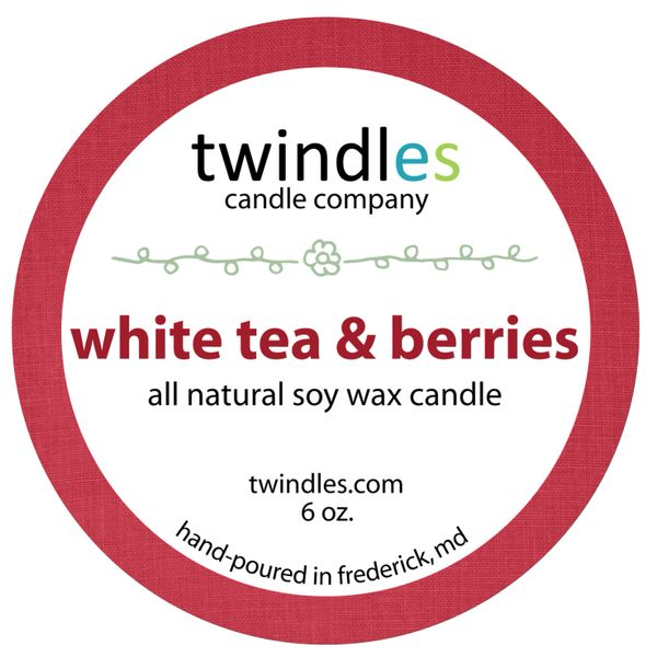 white tea & berries soy candle | 6oz. travel tin | 25+ hr burn time