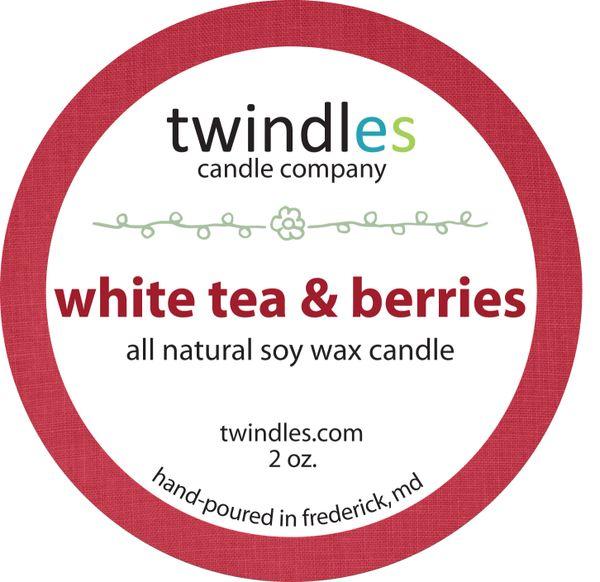 white tea & berries soy candle | 2oz. travel tin | 12+ hr burn time