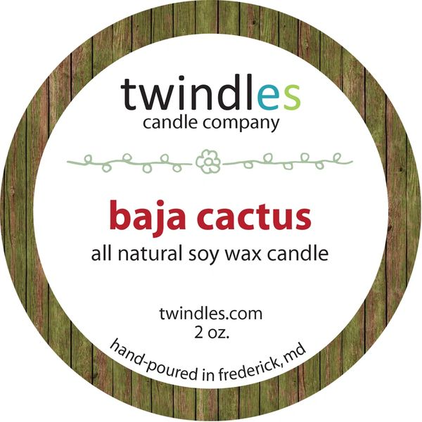 baja cactus - 2oz. travel tin - 25+ hr burn time