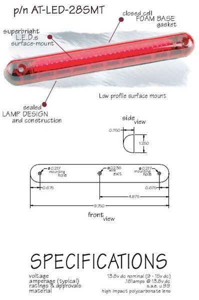 LED Third Brake Light, Surface Mount AT-LED-28SMT