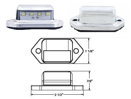 LED License Plate Lamp, 4 LED, L10-0001