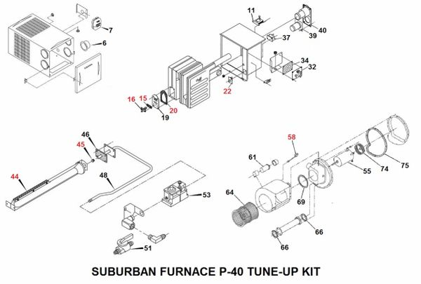 Suburban Furnace Model P-40 Tune-Up Kit